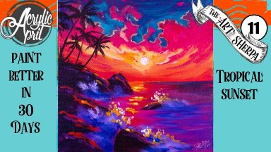 Tropical Sunset  Easy Daily Painting  Step by step Acrylic Tutorials Day 11  #AcrylicApril2020