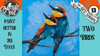 A pair of Birds   Easy Daily Painting  Step by step Acrylic Tutorials Day  #13 AcrylicApril2020
