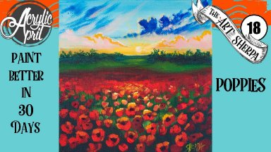 Poppies flowers Easy Daily Painting  Step by step Acrylic Tutorials Day 18  #AcrylicApril2020
