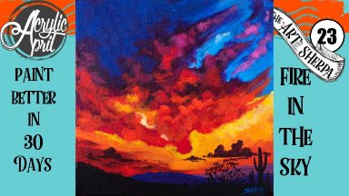 Desert Sunset  Easy Daily Painting  Step by step Acrylic Tutorials Day 23  #AcrylicApril2020