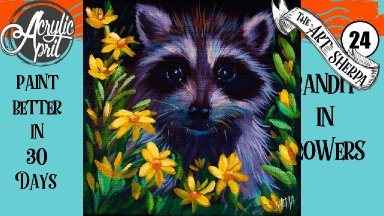 Raccoon in flowers  Easy Daily Painting  Step by step Acrylic Tutorials Day 24  #AcrylicApril2020