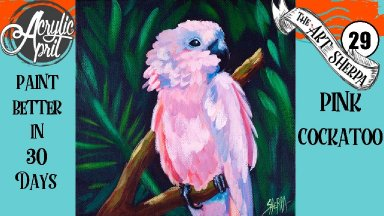 pink cockatoo Easy Daily Painting  Step by step Acrylic Tutorials Day 29   #AcrylicApril2020