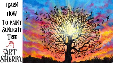 Sunset Tree Painting  Step by step Acrylic Tutorial Live stream The Art Sherpa