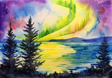 How to paint a Aurora Borealis Watercolor Landscape with The Art Sherpa