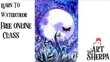 Watercolor Moonscape Double Watercolor Class