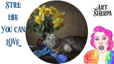 Floral Still Life With cat Step by step Acrylic Live stream | TheArtSherpa