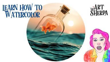 Watercolor Goldfish In a Bottle