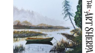 How to paint Acrylic landscape Misty LAKE live (take2)