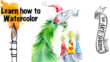 How to paint watercolor   Santa Gnome and 3 wise Gnomies