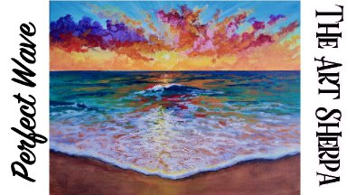 The perfect Wave Ocean Sunset STEP by STEP Acrylic Painting  TheArtSherpa