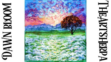 Pink Sunrise wildflower field landscape  step By step acrylic tutorial  | TheArtSherpa