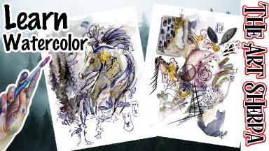 Watercolor Freestyle Horse and Abstract