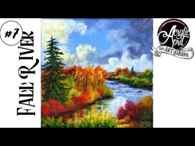 Easy How to paint  Autumn Landscape River Acrylic Tutorial Day 7 #AcrylicApril2021​​​ | TheArtSherpa