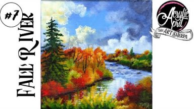 Easy How to paint  Autumn Landscape River Acrylic Tutorial Day 7 #AcrylicApril2021   TheArtSherpa