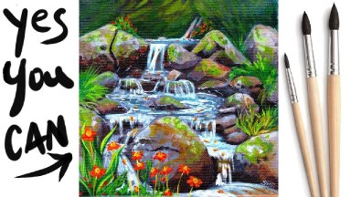 How to paint a Realistic Waterfall  Acrylic Tutorial Day 10 #AcrylicApril2021​​ | TheArtSherpa