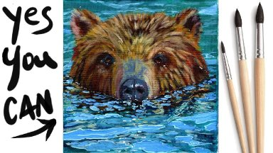 BEAR IN RIVER WATER Beginners Learn to paint Acrylic Tutorial Step by Step Day 11  #AcrylicApril2021