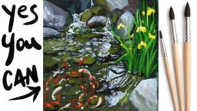 KOI POND WATERFALL Beginners Learn to paint Acrylic Tutorial Step by Step Day  13 #AcrylicApril2021
