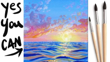 SUNSET WAVES OCEAN  Beginners Learn to paint Acrylic Tutorial Step by Step Day 14  #AcrylicApril2021