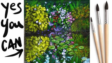 LILY POND Beginners Learn to paint Acrylic Tutorial Step by Step Day 15 #AcrylicApril2021