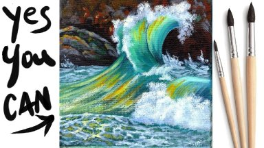 CRASHING WAVE  Beginners Learn to paint Acrylic Tutorial Step by Step Day  #AcrylicApril2021