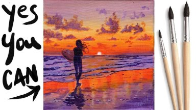 SUNSET BEACH GIRL Beginners Learn to paint Acrylic Tutorial Step by Step Day  19 #AcrylicApril2021