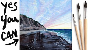 SEASHORE BEACH Beginners Learn to paint Acrylic Tutorial Step by Step Day 20.1 #AcrylicApril2021