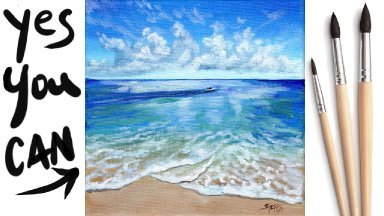 SEAFOAM BLUE SEA Beginners Learn to paint Acrylic Tutorial Step by Step Day 23 #AcrylicApril2021