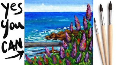 FLOWERS BY THE SEA Beginners Learn to paint Acrylic Tutorial Step by Step Day 24 #AcrylicApril2021