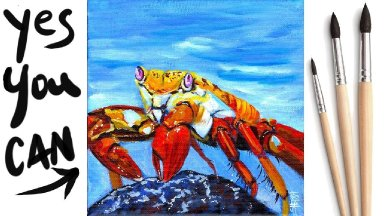 COLORFUL CRAB Beginners Learn to paint Acrylic Tutorial Step by Step Day 25 #AcrylicApril2021