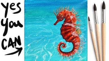 SEAHORSE Beginners Learn to paint Acrylic Tutorial Step by Step Day 27 #AcrylicApril2021