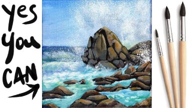 OCEAN WAVES CRASHING ON ROCKS Beginners Acrylic Tutorial Step by Step Day 28 #AcrylicApril2021