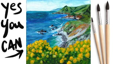 COASTAL OCEAN VIEW Beginners Learn to paint Acrylic Tutorial Step by Step Day 29 #AcrylicApril2021