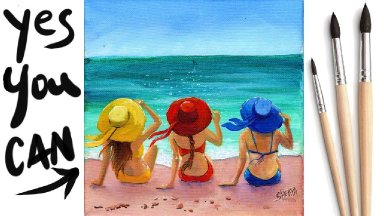 HAT GIRLS BEACH Beginners Learn to paint Acrylic Tutorial Step by Step Day 30 #AcrylicApril2021