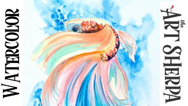 BETTA FISH Easy How to Paint Watercolor Step by step LIVE STREAM  | The Art Sherpa
