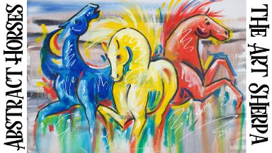 ABSTRACT HORSES Beginners Learn to paint Acrylic Tutorial Step by Step