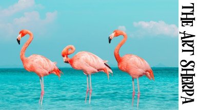 TROPICAL FLAMINGOS Beginners Learn to paint Acrylic Tutorial Step by Step