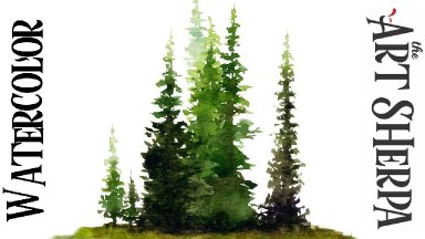 PINE TREE Easy How to Paint Watercolor Step by step | The Art Sherpa