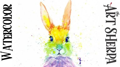 RAINBOW BUNNY Easy How to Paint Watercolor Step by step | The Art Sherpa