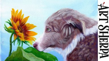 BORDER COLLIE PUPPY WITH SUNFLOWER Beginners Learn to paint Acrylic Tutorial Step by Step BAQ2021