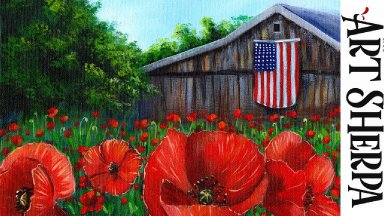 RED POPPY FIELD OLD BARN Beginners Learn to paint Acrylic Tutorial Step by Step LIVE STREAMING