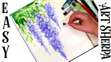 Easy Q-tip Wysteria  How to Paint Watercolor Step by step   The Art Sherpa