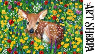 BABY DEER IN FLOWERS Beginners Learn to paint Acrylic Tutorial Step by Step