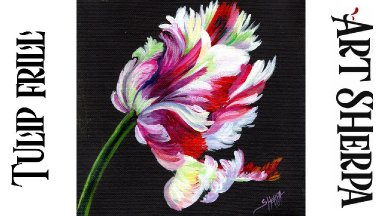 PARROT TULIP FLOWER Beginners Learn to paint Acrylic Tutorial Step by Step