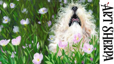 FLUFFY DOG IN FLOWERS BAQ  Beginners Learn to paint Acrylic Tutorial Step by Step