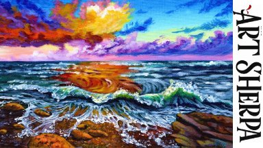 OCEAN SUNSET WAVES Beginners Learn to paint Acrylic Tutorial Step by Step