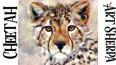 CHEETA FACE AND EYES Beginners Learn to paint Acrylic Tutorial Step by Step