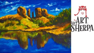 Learn to paint with Acrylic A Desert Landscape with Reflection Pallet knife
