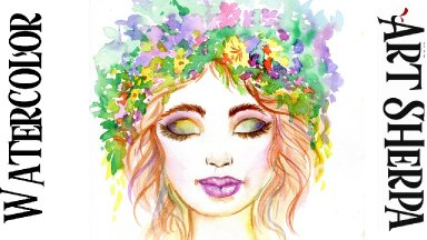 FLORAL FACE Easy How to Paint Watercolor Step by step | The Art Sherpa