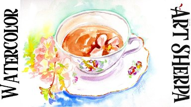 TEACUP AND FLOWERS Easy How to Paint Watercolor Step by step   The Art Sherpa