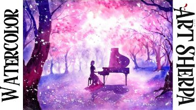 Girl Piano Magic  Forest Easy How to Paint Watercolor Step by step   The Art Sherpa
